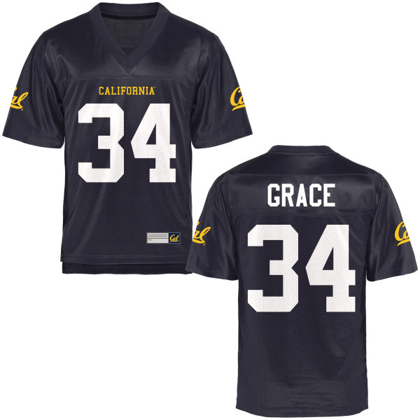 Men's De'Zhon Grace Cal Bears Authentic Navy Blue Football Jersey
