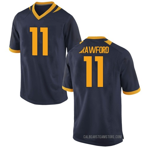 Men's Kekoa Crawford California Golden Bears Replica Gold Navy Football College Jersey