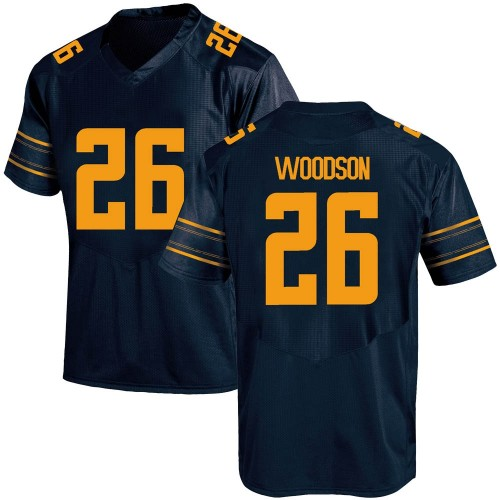 Men's Under Armour Craig Woodson California Golden Bears Game Gold Navy Football College Jersey