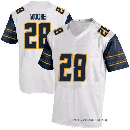 Men's Under Armour Damien Moore California Golden Bears Game Gold White Football College Jersey