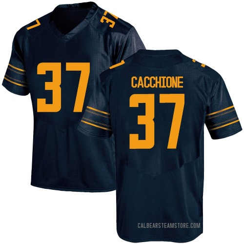 Men's Under Armour Dante Cacchione California Golden Bears Game Gold Navy Football College Jersey
