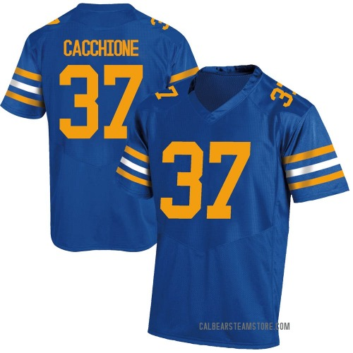 Men's Under Armour Dante Cacchione California Golden Bears Game Gold Royal Football College Jersey