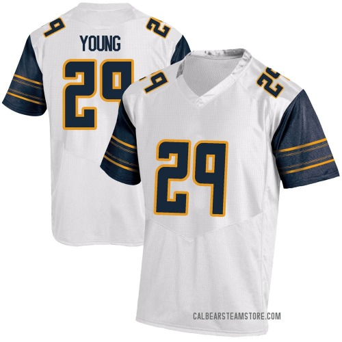 Men's Under Armour Isaiah Young California Golden Bears Game Gold White Football College Jersey