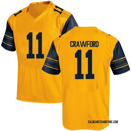 Men's Under Armour Kekoa Crawford California Golden Bears Game Gold Alternate Football College Jersey
