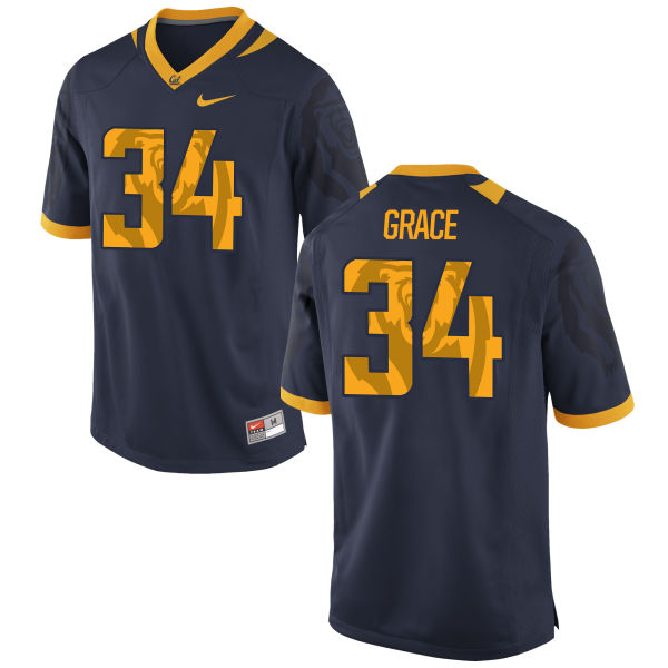 Men's Nike De'Zhon Grace Cal Bears Authentic Navy Football Jersey